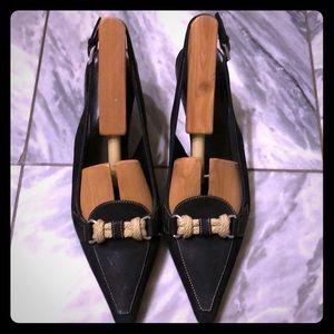 Vintage Prada black leather pointy toe sling backs